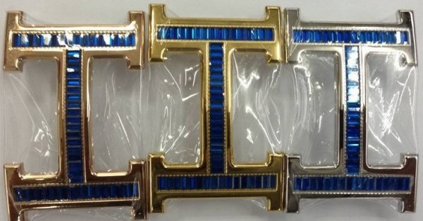 Hermes 18k Buckle With Crystal Blue