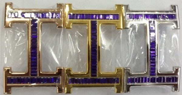 Hermes 18k Buckle With Crystal Purple