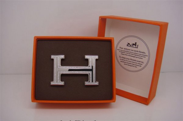 Hermes 18k Silver Plated H Buckle with Double Full Diamonds