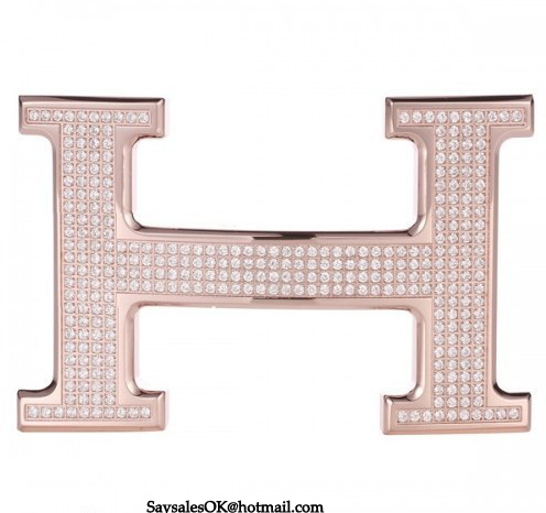 Hermes 18k Rose Gold Plated H Buckle with Full Diamonds