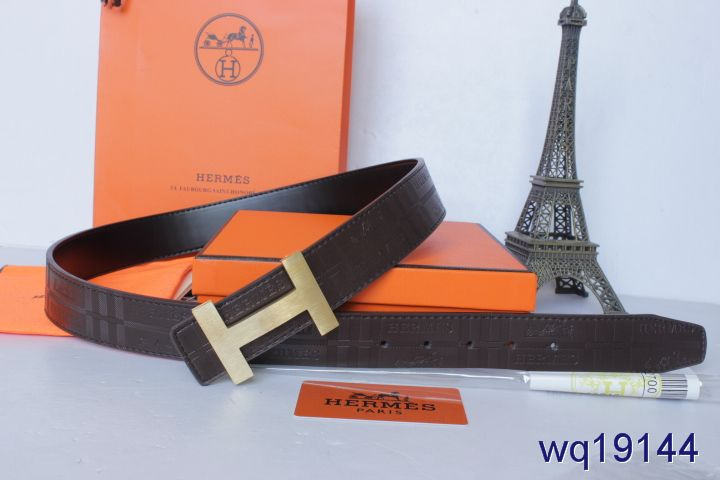 Discounted with Golden H Buckle Belt Mens Chocolate Hermes