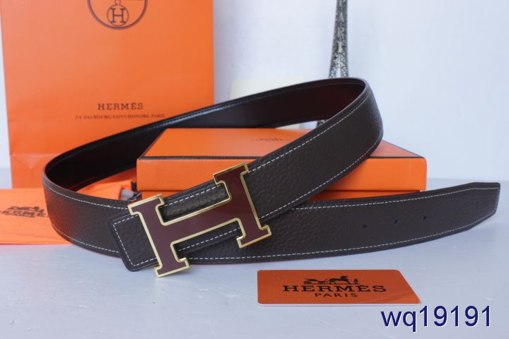 Designer Hermes with Red H Buckle Mens Belt Black