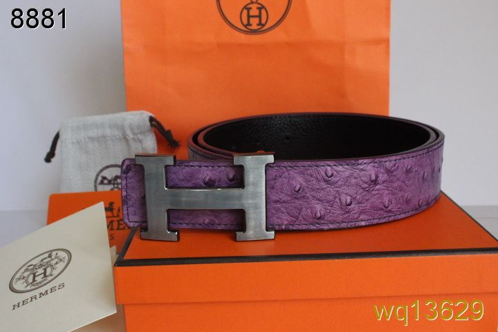 Belt Mens Purple Hermes with Silver H Buckle Inexpensive