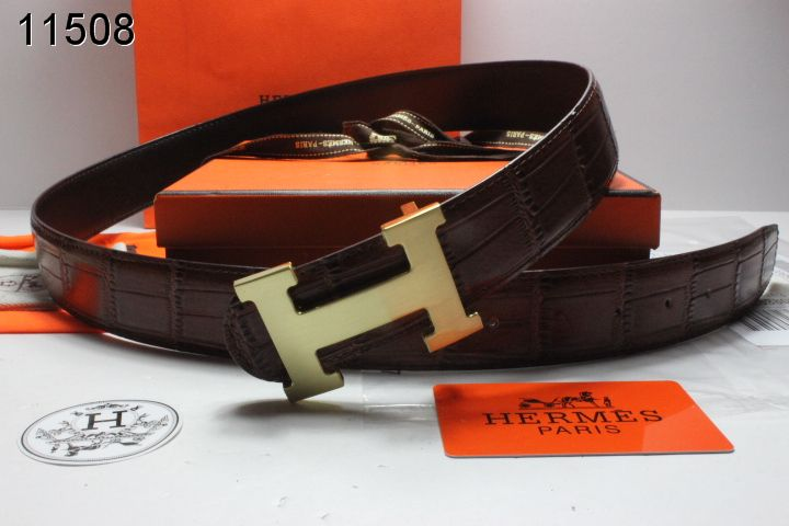 Designer Chocolate with Golden H Buckle Belt Mens Hermes