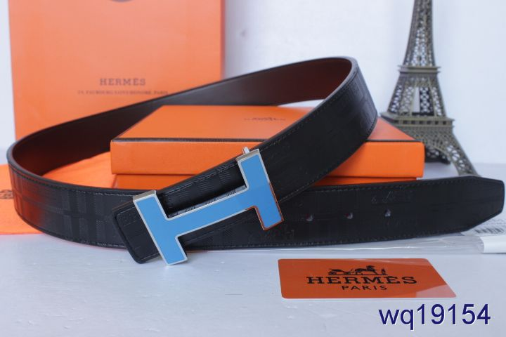 Custom Mens Hermes Black with Blue H Buckle Belt