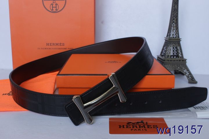 Perfect Hermes with Black H Buckle Mens Belt Black