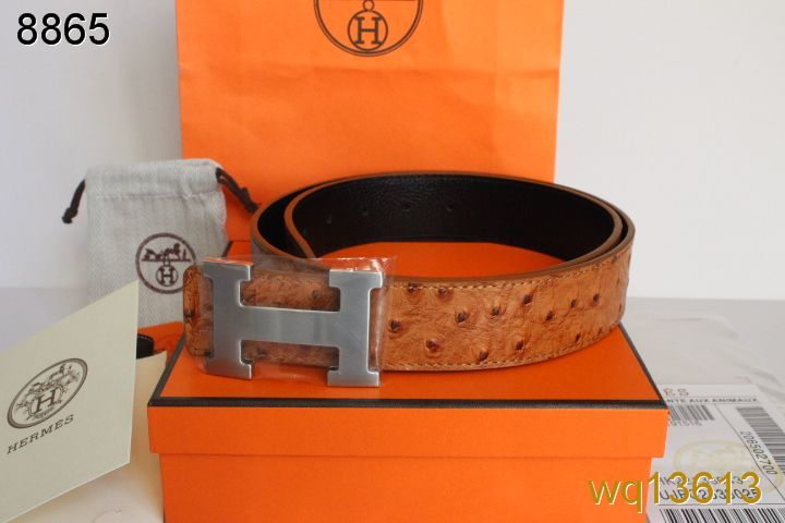 Retail Brown Mens Belt with Silver H Buckle Hermes