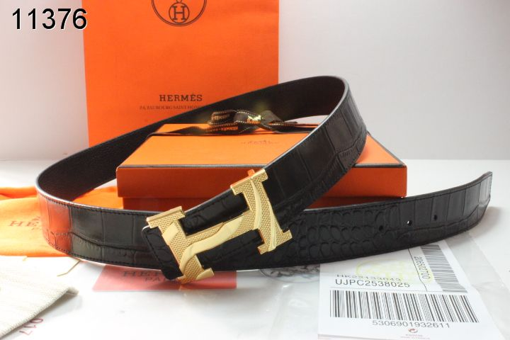 Discover Mens Black Hermes with Golden H Buckle Belt Promote
