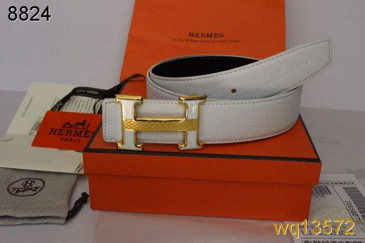 Mens Belt with Golden H Buckle White Hermes Promote