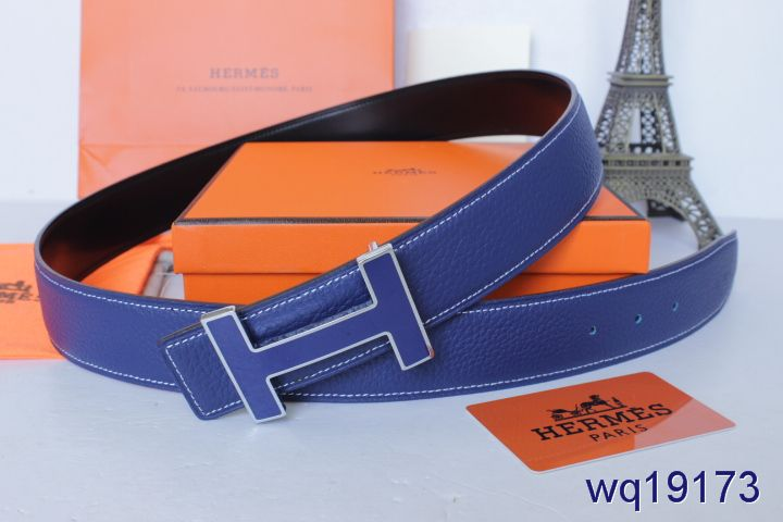 Shopping Blue Mens Hermes Belt with Dark Blue H Buckle Inexpensi
