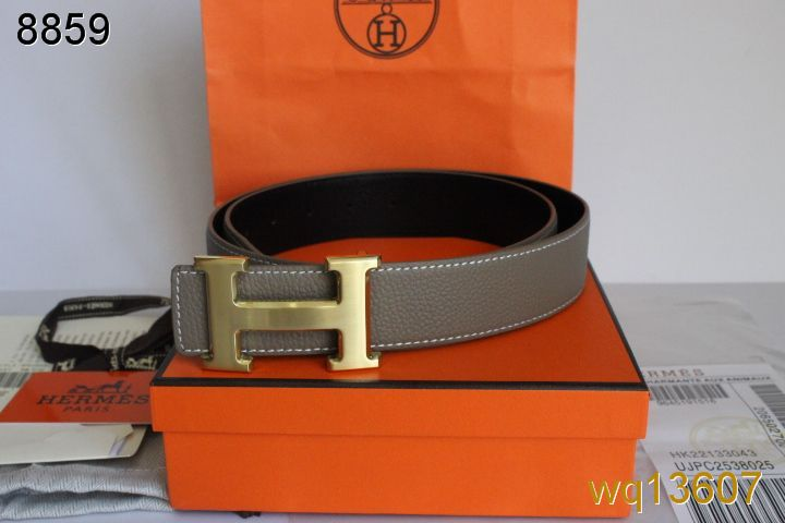 New Mens Belt Grey Hermes with Golden H Buckle Outlet