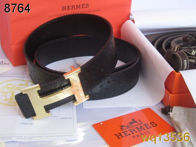 Cheap Hermes with Golden H Buckle Black Belt Mens