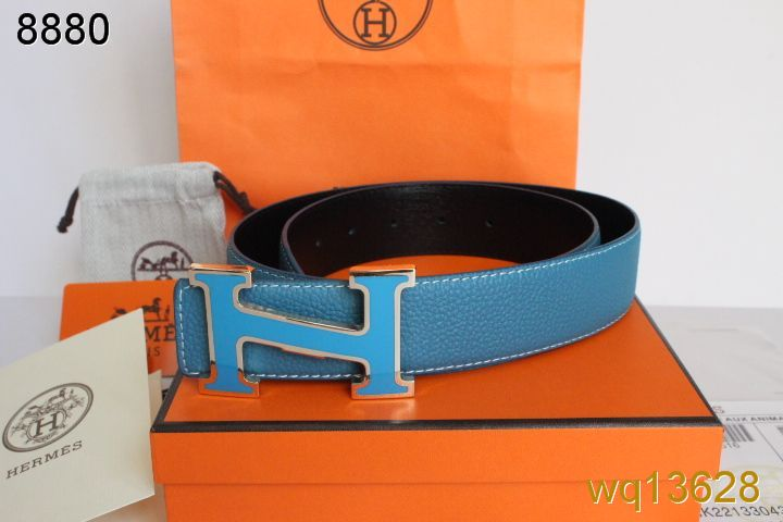 Luxury Mens Blue with Blue H Buckle Hermes Belt Inexpensive