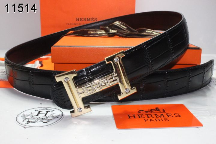 Brand Mens with Golden H Buckle Black Belt Hermes