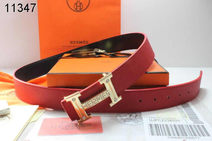 Belt Hermes Mens with Golden H Buckle Red Store