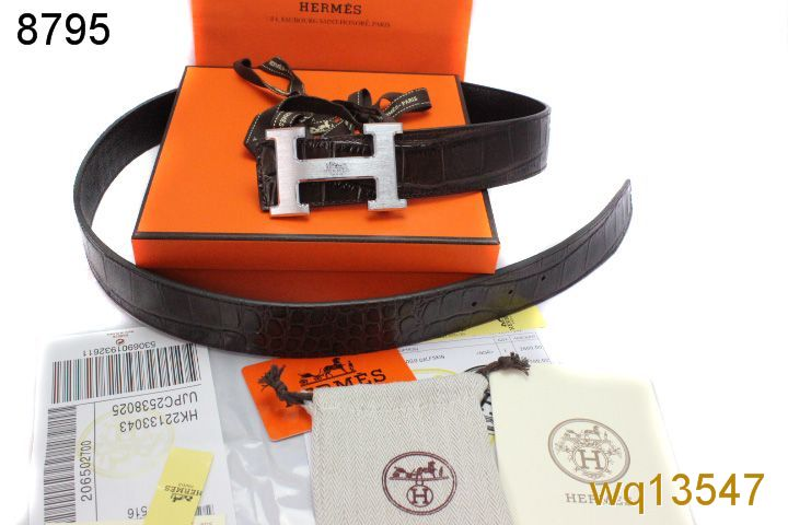 Black Hermes with Silver H Buckle Belt Mens Inexpensive
