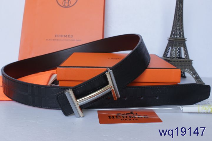Mens Belt with Silver H Buckle Black Hermes Outlet