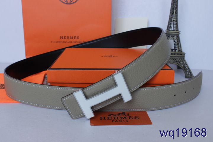 Special Hermes Grey with Silver H Buckle Belt Mens Online