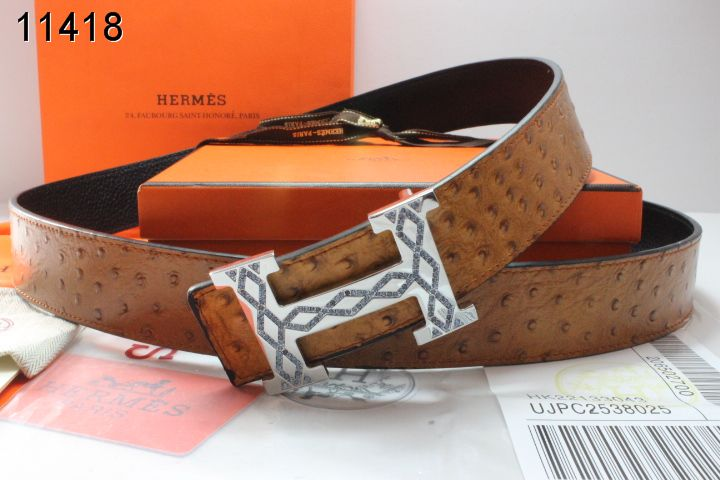 Original with Silver H Buckle Brown Belt Mens Hermes