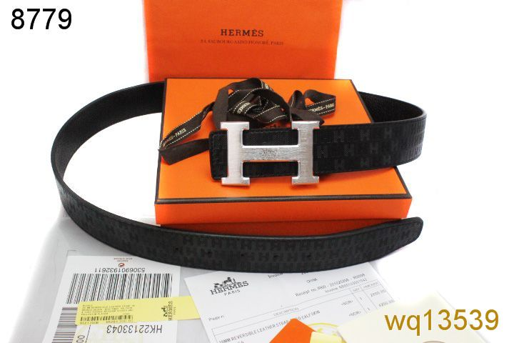 Black Hermes Mens Belt with Silver H Buckle On sale