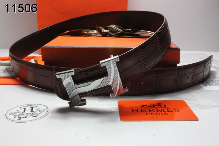 Shopping Belt with Silver H Buckle Hermes Chocolate Mens UK