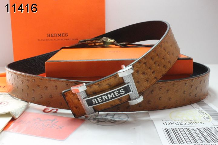 New Brown Belt Hermes with Silver H Buckle Mens
