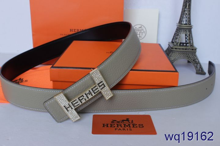 Shop Hermes Grey Mens Belt with Silver H Buckle Online