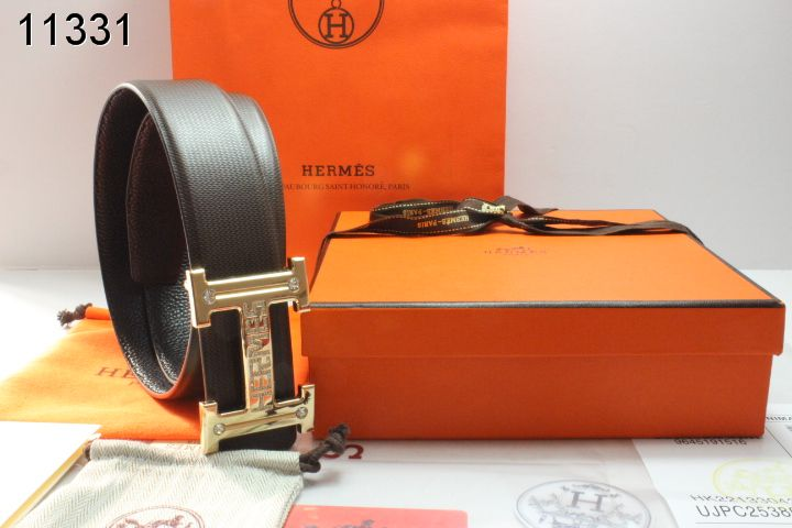 Hermes with Golden H Buckle Mens Black Belt Inexpensive
