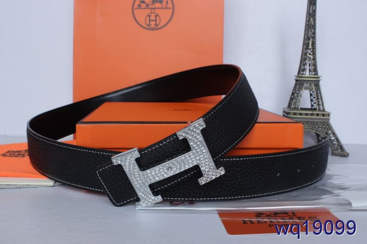 Belt Black Mens with Silver H Buckle Hermes Affordable