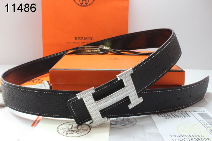Black Mens with Silver H Buckle Belt Hermes UK