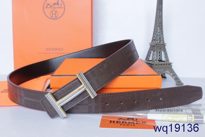 Fashionable Belt Chocolate Hermes Mens with Golden/Silver H Buck