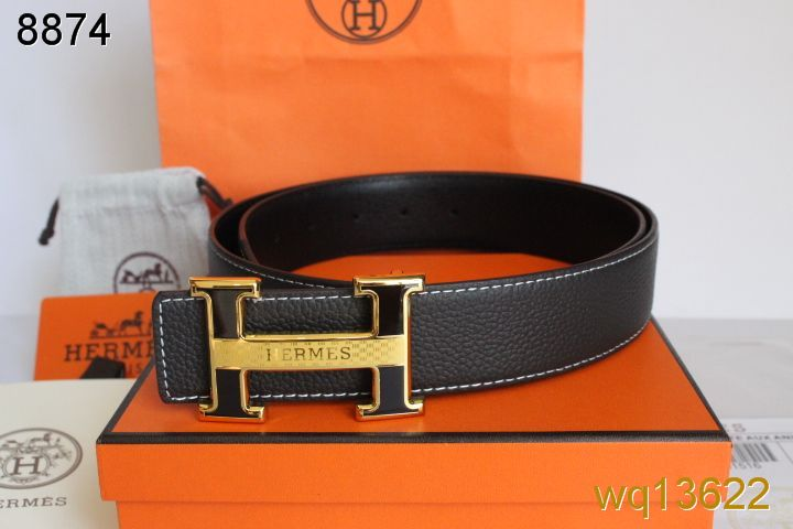 Famous with Black/Golden H Buckle Mens Belt Hermes Chocolate