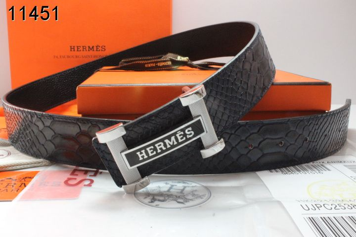 Belt Hermes with Silver H Buckle Black Mens Outlet