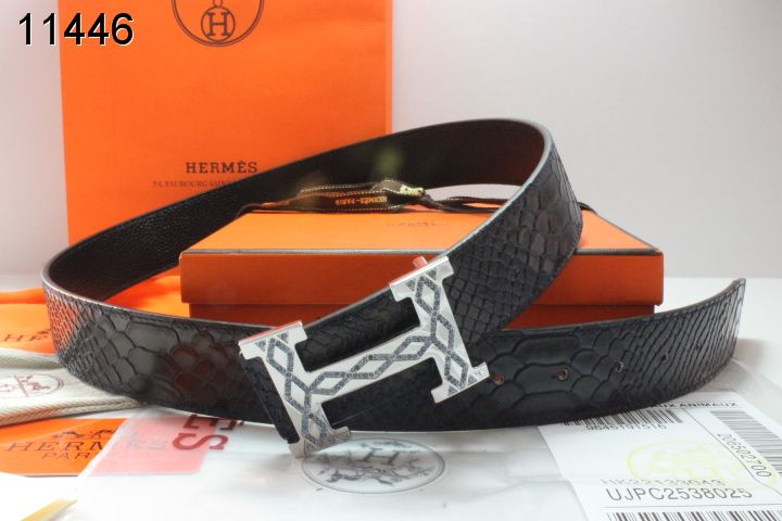 Black Belt with Silver H Buckle Mens Hermes On sale