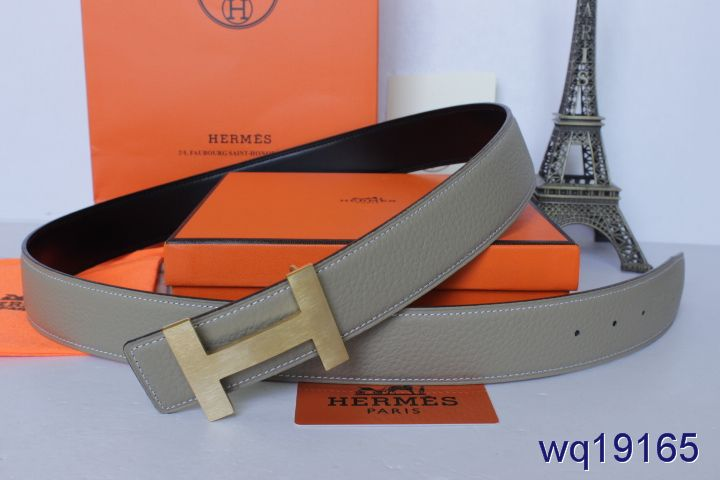 Discover with Golden H Buckle Hermes Mens Grey Belt Promote