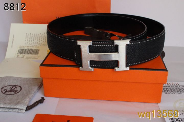 Black with Silver H Buckle Hermes Mens Belt Online
