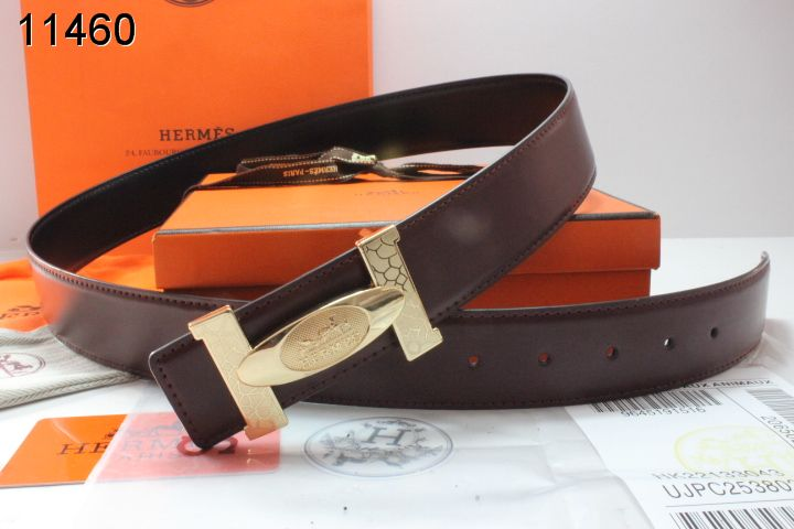 Cheap with Golden H Buckle Chocolate Belt Hermes Mens