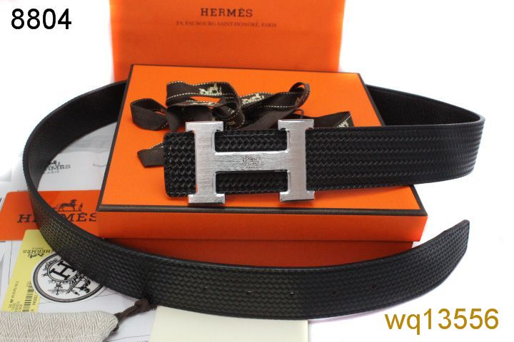 Belt Hermes Black Mens with Silver H Buckle Sale