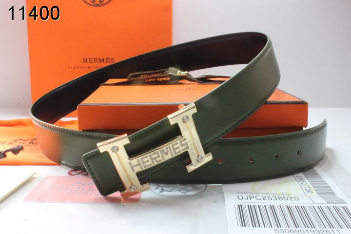 Brand Chocolate Mens with Golden H Buckle Hermes Belt