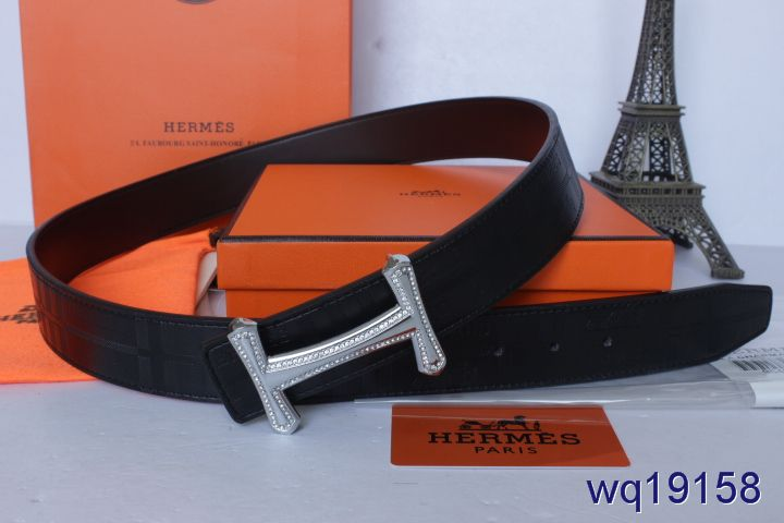 Hermes Mens Belt with Silver H Buckle Black Outlet