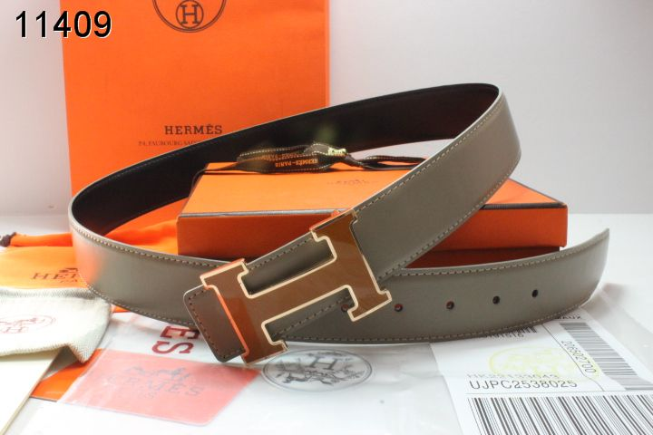 Fashion with Golden H Buckle Belt Grey Hermes Mens Outlet