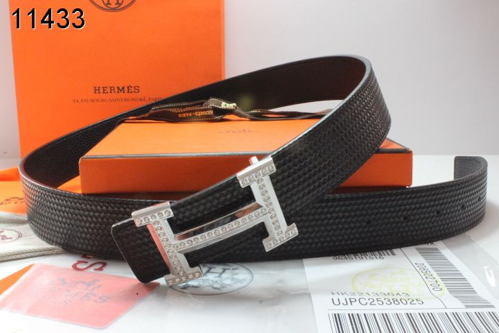 Belt Hermes Black with Silver H Buckle Mens Cheap Sale