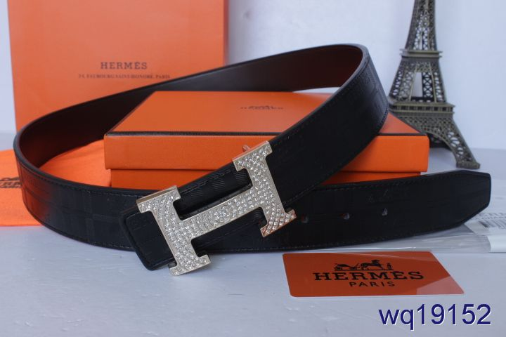 Black Mens with Silver H Buckle Belt Hermes Affordable