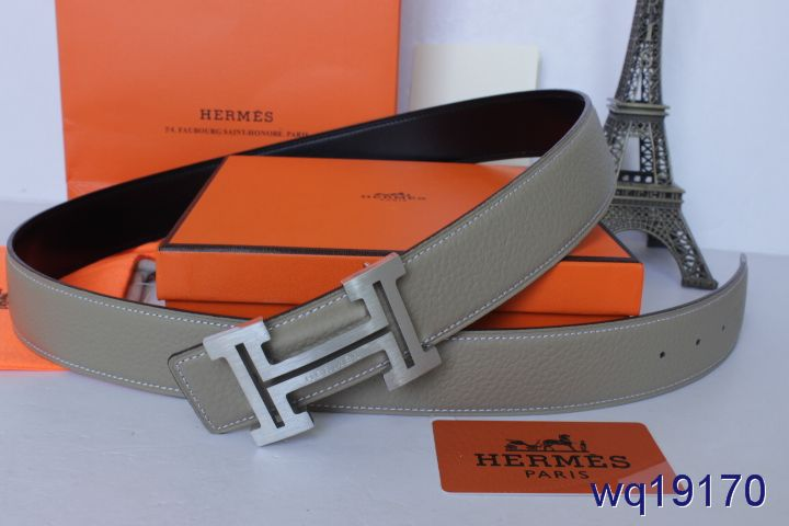 Stylish with Silver H Buckle Grey Mens Hermes Belt Online