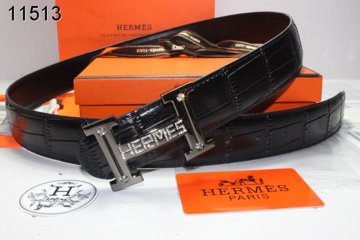 Fashionable Belt Mens with Black H Buckle Hermes Black
