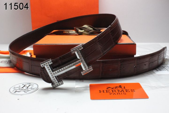 Fashion Belt Mens Chocolate Hermes with Silver H Buckle UK