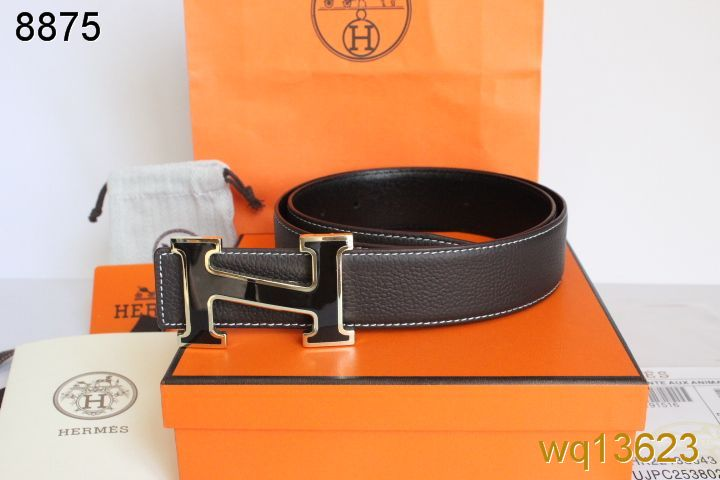 Great Hermes Belt with Black H Buckle Mens Chocolate
