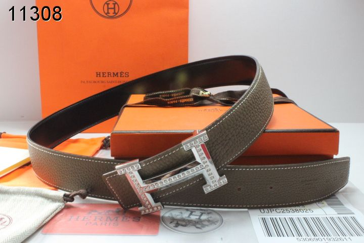 Brand with Silver H Buckle Mens Belt Chocolate Hermes Store