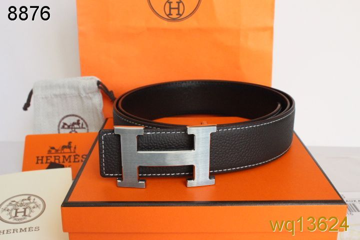 Mens Black Belt Hermes with Silver H Buckle On sale