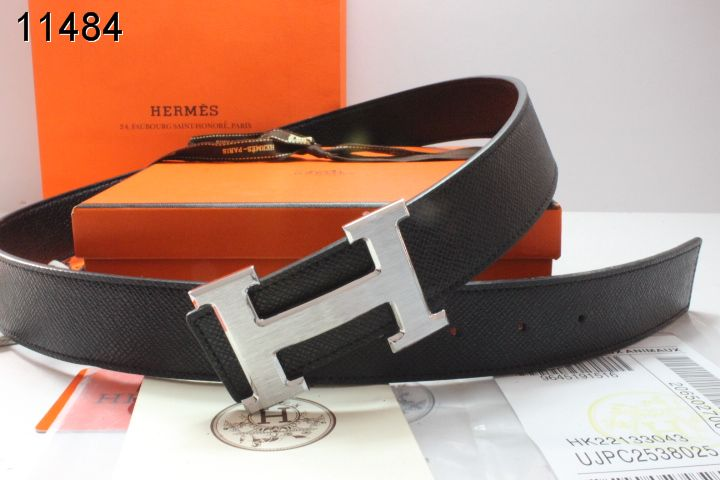 Mens Black with Silver H Buckle Hermes Belt Wholesale